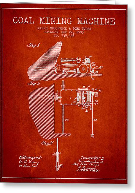 Mining Greeting Cards - Coal Mining Machine Patent From 1903- Red Greeting Card by Aged Pixel