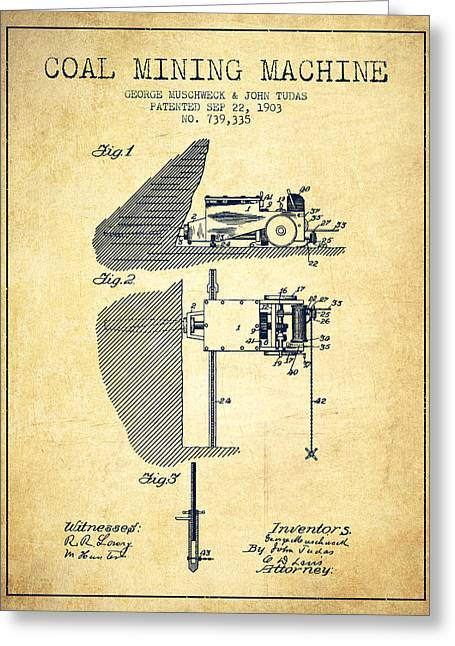 Mining Greeting Cards - Coal Mining Machine Patent From 1903- Vintage Greeting Card by Aged Pixel