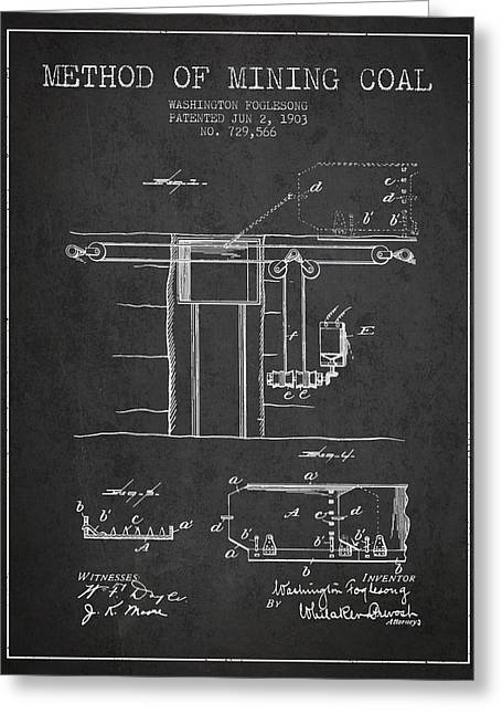 Mining Greeting Cards - Coal Mining Patent From 1903- Charcoal Greeting Card by Aged Pixel