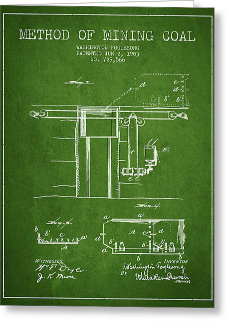 Mining Greeting Cards - Coal Mining Patent From 1903- Green Greeting Card by Aged Pixel