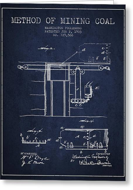 Mining Greeting Cards - Coal Mining Patent From 1903- Navy Blue Greeting Card by Aged Pixel