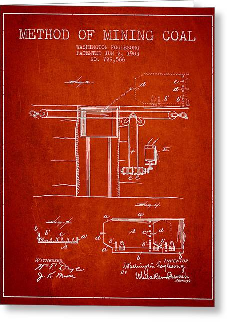 Mining Greeting Cards - Coal Mining Patent From 1903- Red Greeting Card by Aged Pixel