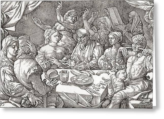 Period Greeting Cards - Coarse Behaviour At The Dining Table During The Renaissance Period.  After A Spanish Copper Greeting Card by Bridgeman Images
