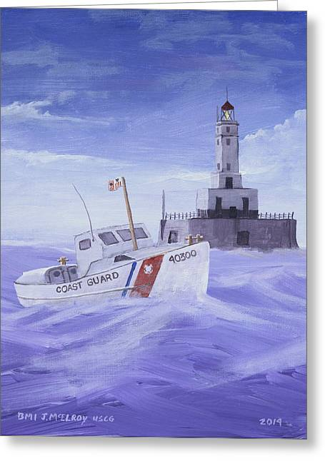 Mlb Paintings Greeting Cards - Coast Guard 40300 Greeting Card by Jerry McElroy
