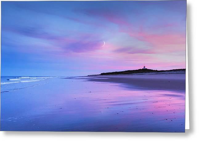 Moon Beach Greeting Cards - Coast Guard Beach Sunset Greeting Card by Bill  Wakeley