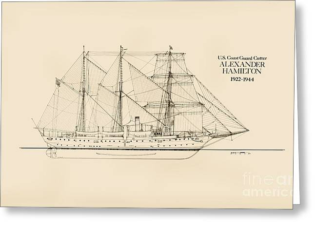 Tall Ships Drawings Greeting Cards - Coast Guard Cutter Alexander Hamilton Greeting Card by Jerry McElroy - Public Domain Image