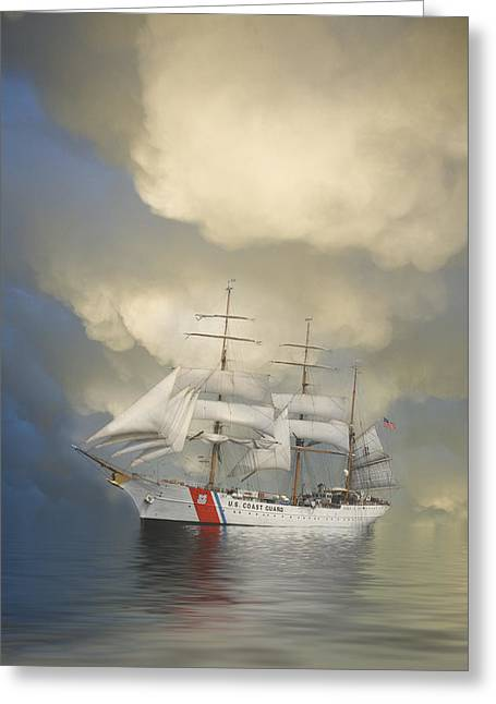 Underway Greeting Cards - Coast Guard Cutter Eagle Greeting Card by Jerry McElroy