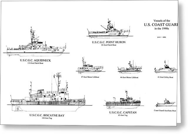 U.s. Coast Guard Greeting Cards - Coast Guard Cutters of the 1990s Greeting Card by Jerry McElroy - Public Domain Image