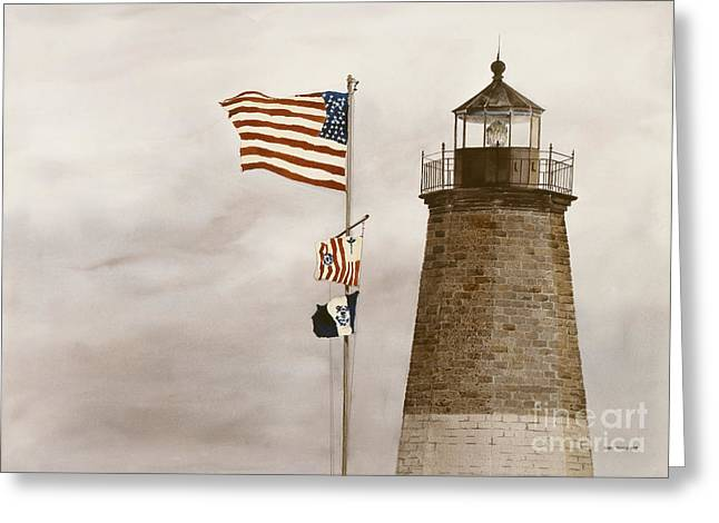 Fluttering Paintings Greeting Cards - Coast Guard Greeting Card by Monte Toon