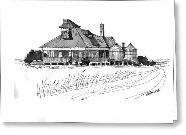 North Shore Drawings Greeting Cards - Coast Guard Station 1 Ocracoke 1970s Greeting Card by Richard Wambach