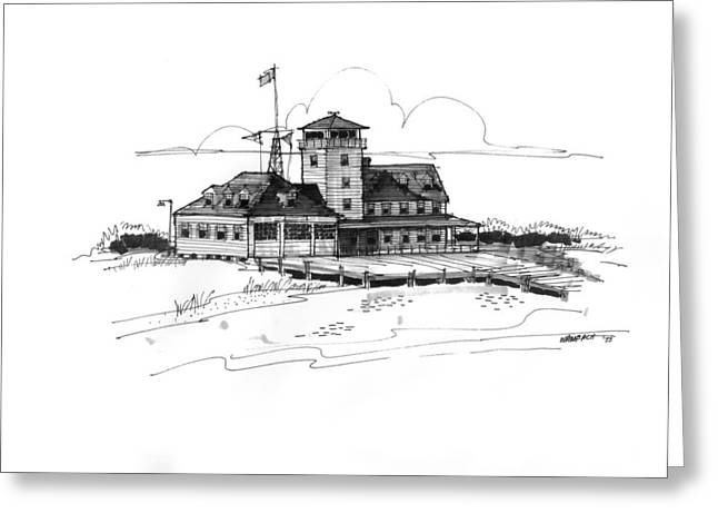 North Shore Drawings Greeting Cards - Coast Guard Station 2 Ocracoke 1970s Greeting Card by Richard Wambach