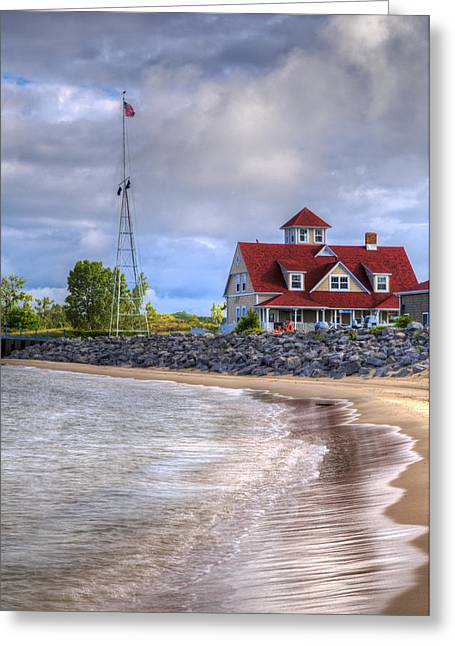 Foggy Beach Greeting Cards - Coast Guard Station in Muskegon Greeting Card by Debra and Dave Vanderlaan