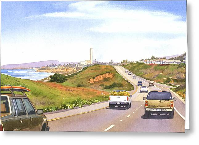 Highway Greeting Cards - Coast Hwy 101 Carlsbad California Greeting Card by Mary Helmreich