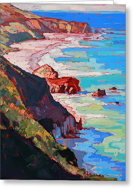 Big Sur Greeting Cards - Coast Line Greeting Card by Erin Hanson