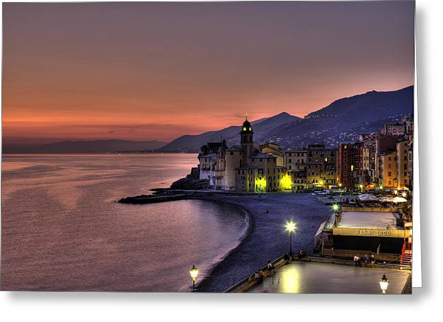 Camogli Greeting Cards - Coast Line With Santa Maria Assunta Greeting Card by Richard Desmarais