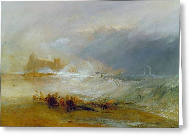 Seascape With A Boat Greeting Cards - Coast of Northumberland Greeting Card by JMW Turner