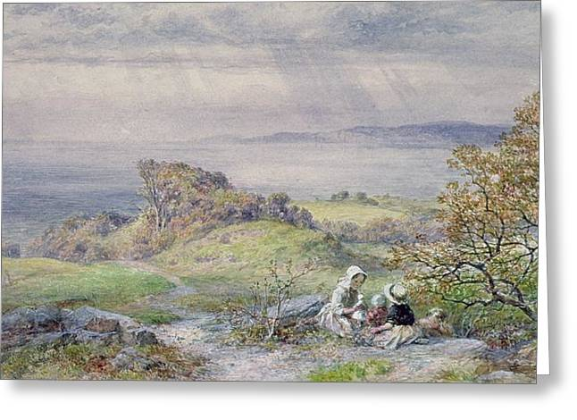Ocean Landscape Greeting Cards - Coast Scene With Children In The Foreground, 19th Century Greeting Card by William Collins