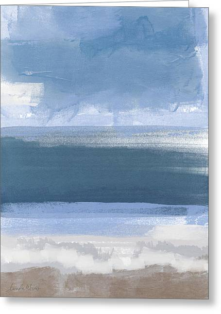 California Beaches Mixed Media Greeting Cards - Coastal- abstract landscape painting Greeting Card by Linda Woods