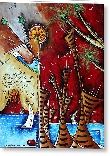 Tropical Beach Greeting Cards - Coastal Art Contemporary Martini Painting Whimsical Design A SLICE OF PARADISE by MADART Greeting Card by Megan Duncanson