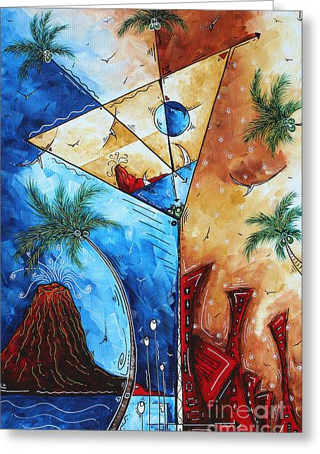 Unique Art Greeting Cards - Coastal Art Contemporary Tropical Martini Painting Whimsical Design ISLAND MARTINI by MADART Greeting Card by Megan Duncanson