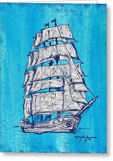 Tall Ships Mixed Media Greeting Cards - Coastal Art Escape The Tall Ship Greeting Card by William Depaula