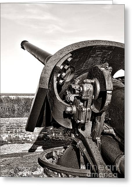 Weaponry Greeting Cards - Coastal Artillery Greeting Card by Olivier Le Queinec
