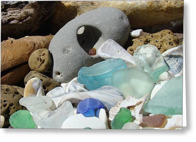 Seaglass Greeting Cards - Coastal Beach art Prints Blue Seaglass Fossils Shells Greeting Card by Baslee Troutman