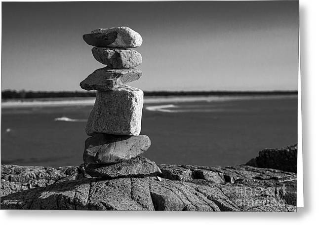 Coastal Cairn Greeting Card by Steven Ralser