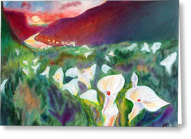Calla Lily Pastels Greeting Cards - Coastal Callas Greeting Card by C Sitton