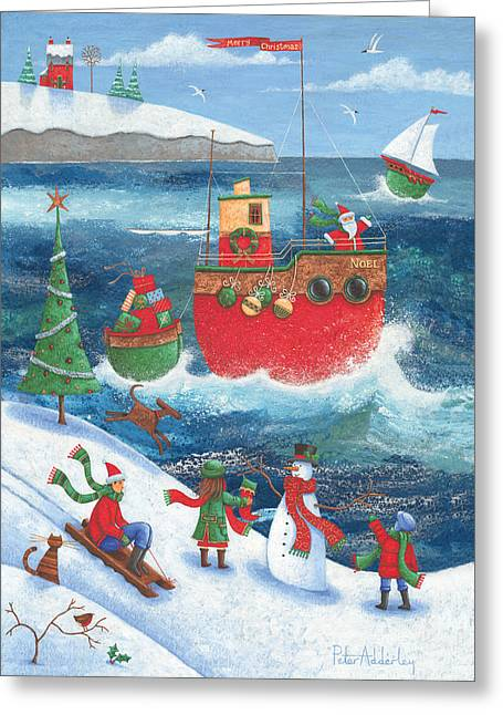 Sledge Photographs Greeting Cards - Coastal Christmas Greeting Card by Peter Adderley