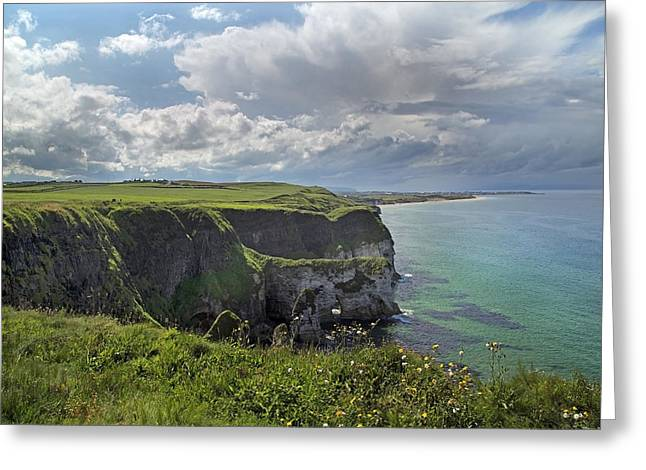 Mystical Landscape Greeting Cards - Coastal Cliffs Antrim Ireland Greeting Card by Betsy C  Knapp