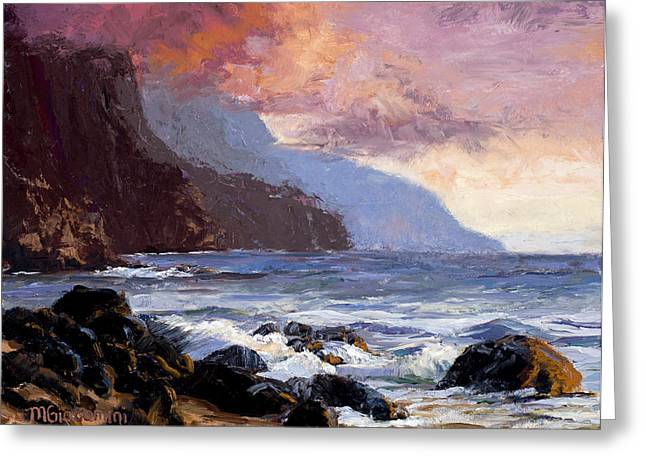 Sunset Posters Greeting Cards - Coastal Cliffs Beckoning Greeting Card by Mary Giacomini