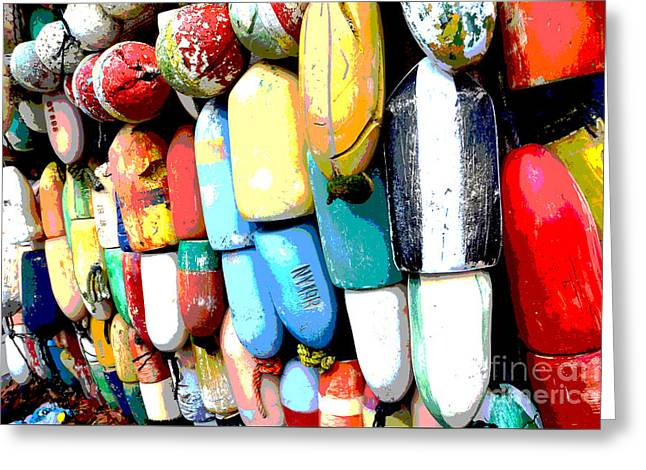 Waterscape Mixed Media Greeting Cards - Colorful buoys - Beach COASTAL Art Print Greeting Card by ArtyZen Studios - ArtyZen Home