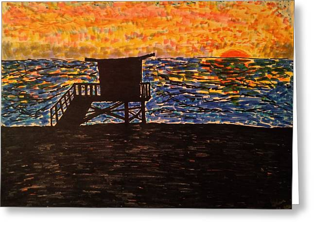 Sunset Posters Drawings Greeting Cards - Coastal Contemplation Greeting Card by Glen Hunkins