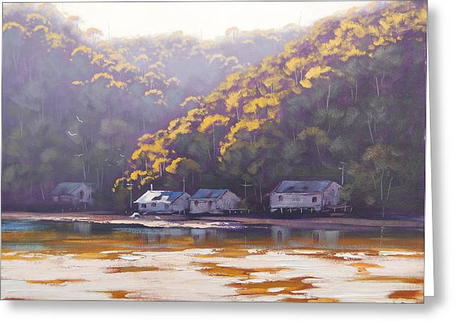 Backlit Greeting Cards - Coastal Creek Greeting Card by Graham Gercken
