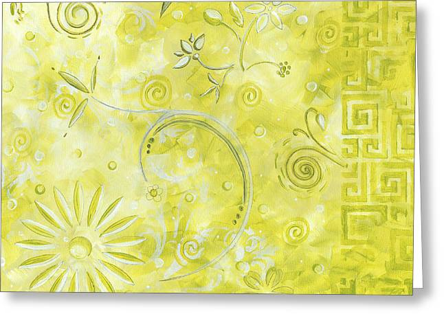 Abstract Flower Greeting Cards - Coastal Decorative Citron Green Floral Greek Checkers Pattern Art GREEN WHIMSY by MADART Greeting Card by Megan Duncanson