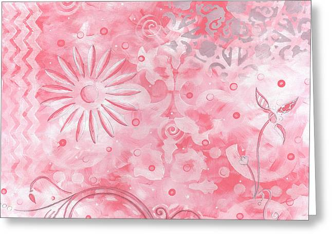 Salmon Paintings Greeting Cards - Coastal Decorative Pink Peach Floral Chevron Pattern Art PINK WHIMSY by MADART Greeting Card by Megan Duncanson