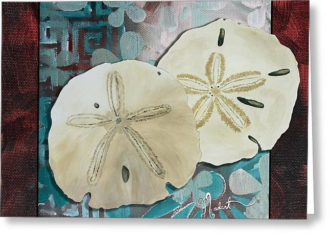 Coastal Decorative Shell Art Original Painting Sand Dollars Asian Influence I By Megan Duncanson Greeting Card by Megan Duncanson