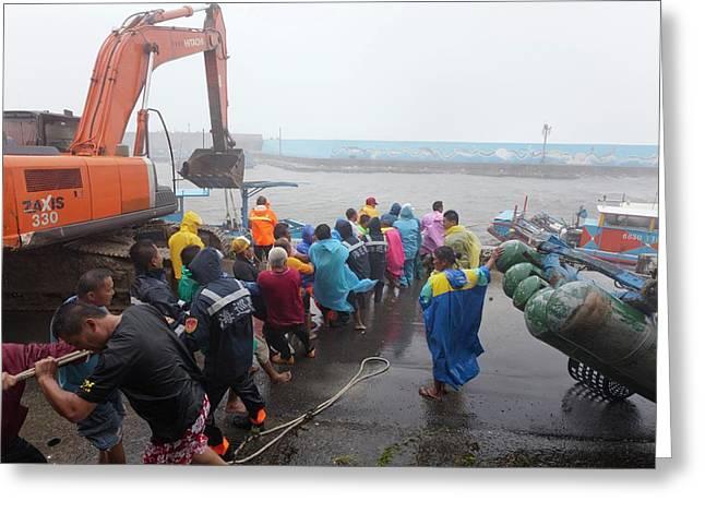 Coastal Defences During Typhoon Usagi Greeting Card by Jim Edds
