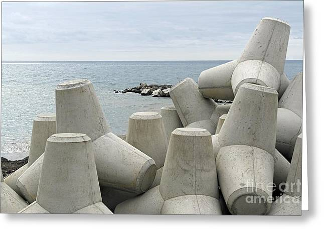Flooding Greeting Cards - Coastal Defences, Madeira, Portugal Greeting Card by Tony Craddock