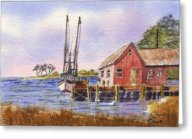 Boats At Dock Greeting Cards - Shrimp Boat - Boat House - Coastal Dock Greeting Card by Barry Jones