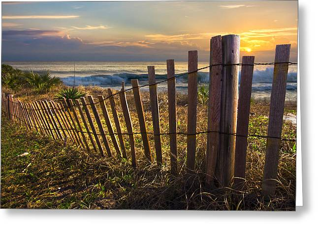 Foggy Ocean Greeting Cards - Coastal Dunes Greeting Card by Debra and Dave Vanderlaan