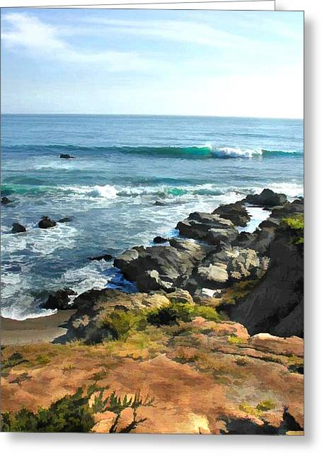 Cambria Digital Greeting Cards - Coastal Edge Greeting Card by Elaine Plesser