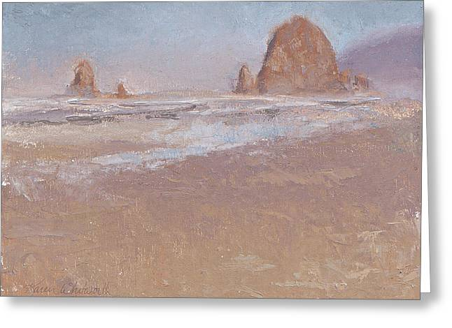 Foggy Beach Paintings Greeting Cards - Coastal Escape  Cannon Beach Oregon and Haystack Rock  Greeting Card by Karen Whitworth