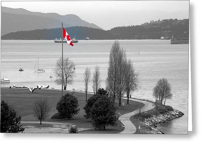 Coastal Canadian Flag Greeting Card by Brian Chase