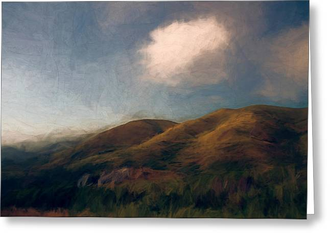 Sonoma County Mixed Media Greeting Cards - Coastal Hills Greeting Card by John K Woodruff