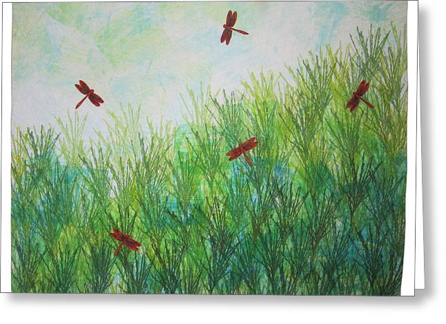 Dragonflies Tapestries - Textiles Greeting Cards - Coastal Marsh Greeting Card by Sandy Gregg