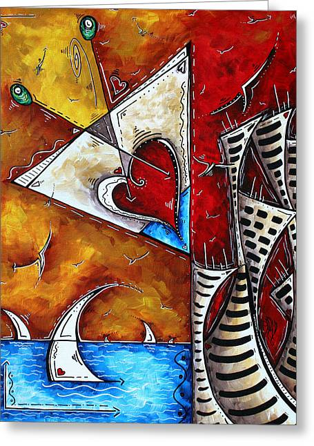 Best Sellers -  - Yellow Sailboats Greeting Cards - Coastal Martini Cityscape Contemporary Art Original Painting HEART OF A MARTINI by MADART Greeting Card by Megan Duncanson