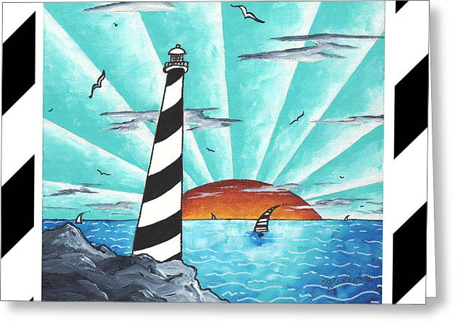 Recently Sold -  - Blue Sailboat Greeting Cards - Coastal Nautical Decorative Art Original Painting Stripes Light House SEEKING THE LIGHT by MADART Greeting Card by Megan Duncanson