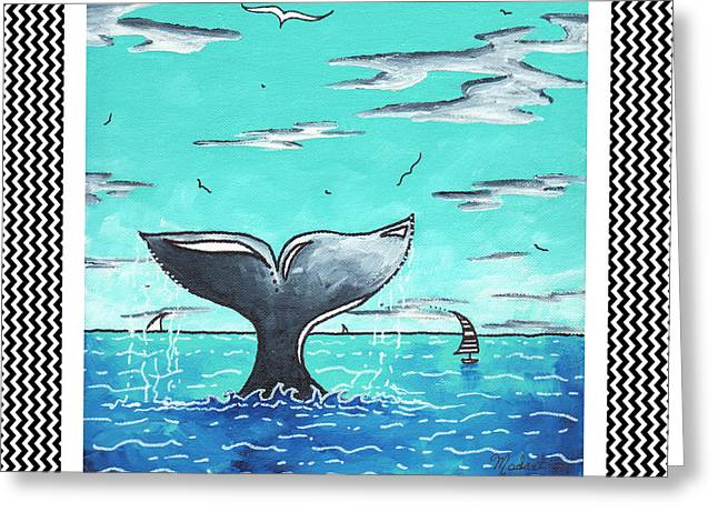 Whale Tail Greeting Cards - Coastal Nautical Decorative Art Original Painting Whale Tail Chevron Pattern SEA FARER by MADART Greeting Card by Megan Duncanson